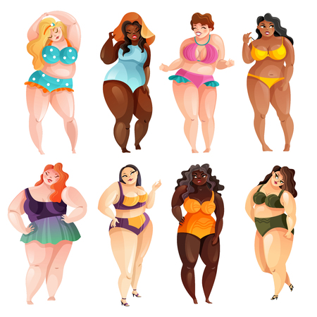 Set of attractive plus size women of various ethnicity in swim suits isolated vector illustration Stock Illustratie