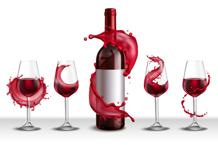 Wine splash realistic set with bottle of red wine and four drinking glasses filled with drink vector illustration Illustration