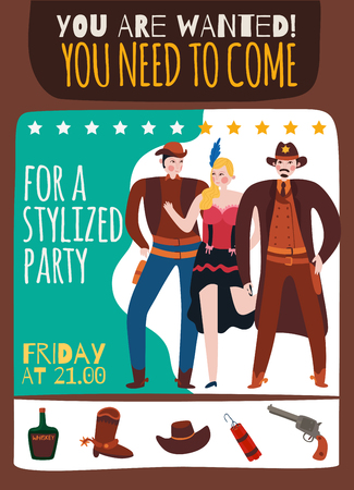 Wild west cowboy poster with hand written style text description and isolated icons of vintage accessories vector illustration