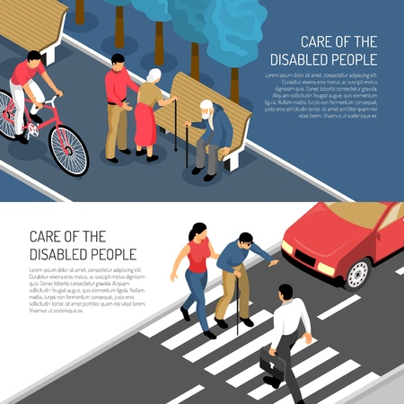 Disabled people isometric horizontal banners assistance to elderly and blind persons isolated vector illustration