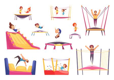 Ensemble de trampolines sautant d'images isolées avec des personnes de trampoline d'âge différent et des rebondeurs d'illustration vectorielle de forme différente