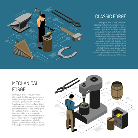Blacksmith in classic and mechanical forge isometric horizontal banners on white and blue background isolated vector illustration