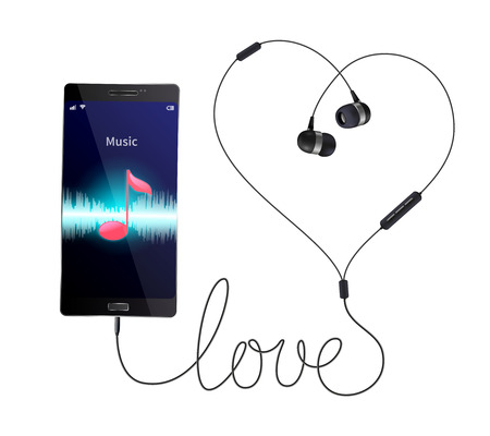 Headphones earphones realistic composition with wired in-ear phones connected to smartphone with music player application vector illustration Ilustração