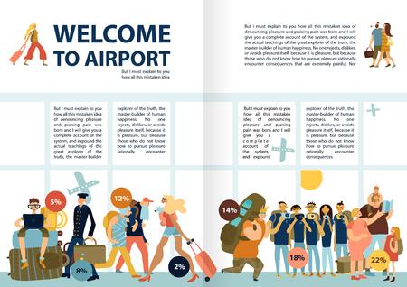 Infografik-Text der Flughafendienste mit lustigen Bildern, die Familien reisen, Singles Touristengruppen späte Passagiere Vektorillustration