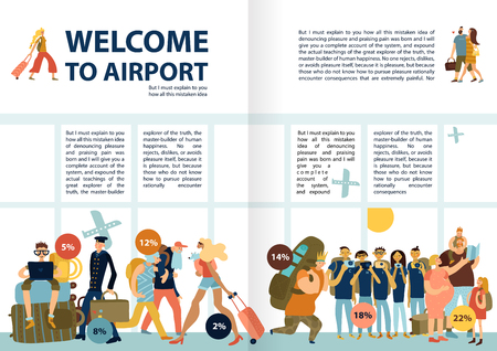 Texto infográfico de información de servicios del aeropuerto con imágenes divertidas que viajan familias solteros grupos de turistas pasajeros tardíos ilustración vectorial