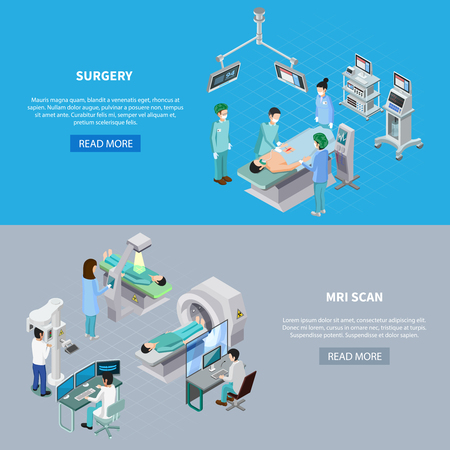 Medical equipment isometric set of two horizontal banners with read more button editable text and images vector illustration