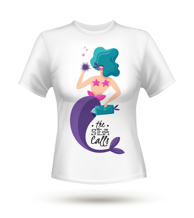 White cotton tricot t-shirt with large fabulous green haired sexy mermaid digital print design vector illustration