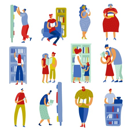 Set of flat icons people in book store during literature choice and reading isolated vector illustration