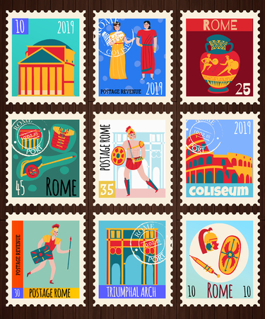 Ancient rome empire cards set of postage stamps with flat compositions of sightseeing attractions and people vector illustration Çizim