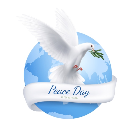 White dove emblem with peace day symbols realistic vector illustration Vectores