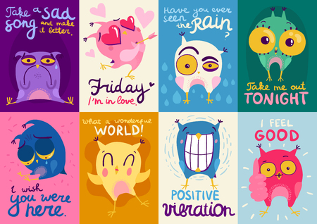 Colorful flat design cards set with cute owls showing different emotions isolated vector illustration