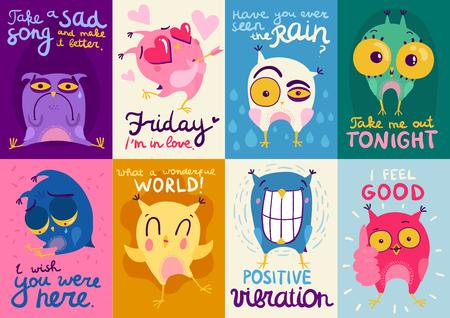 Tarjetas coloridas de diseño plano con lindos búhos que muestran diferentes emociones aisladas ilustración vectorial