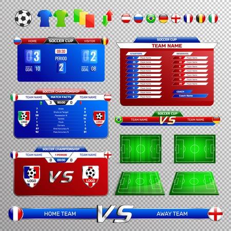 Set di elementi di trasmissione di calcio con tavoli da torneo, bandiere di paesi, campi, isolati su sfondo trasparente Vettoriali