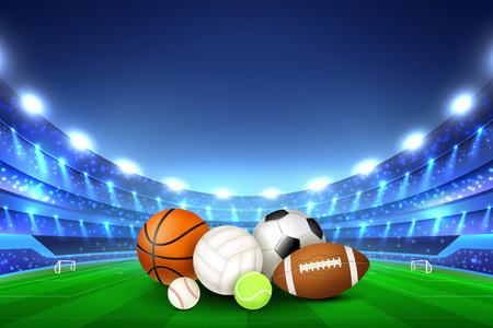Piłki do różnych gier zespołowych zebrane na środku boiska stadionu i trybun oświetlonych realistyczną ilustracją wektorową reflektorów