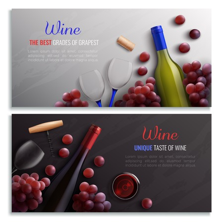 Wine realistic horizontal banners with advertising of drinks made from best grades of grapes vector illustration Illustration