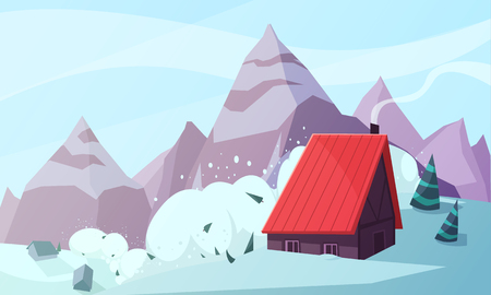 Natural disasters illustration snowstorm with highlands landscape and snowslip with images of mountains and living house vector illustration Çizim