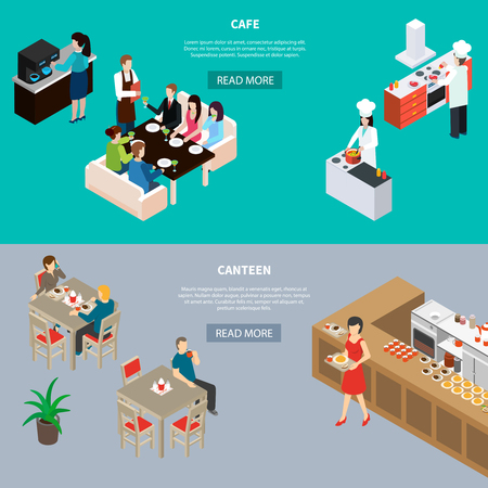 Restaurant isometric horizontal banners with clientele in cafe and canteen isolated on green grey background vector illustration Illustration