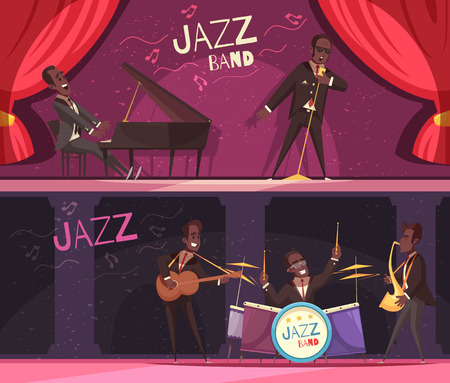 Set of two horizontal jazz banners with view of classic stage with red curtains and musicians vector illustration Stock Illustratie