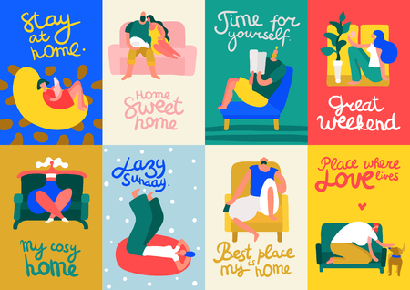 People relaxing on soft and comfortable furniture for cosy home flat cards set isolated on colorful background vector illustration