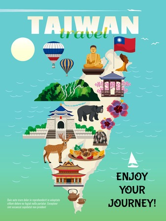 Taiwan travel country cultural map flat advertisement poster with national food sightseeing landmarks attractions symbols vector illustration 向量圖像