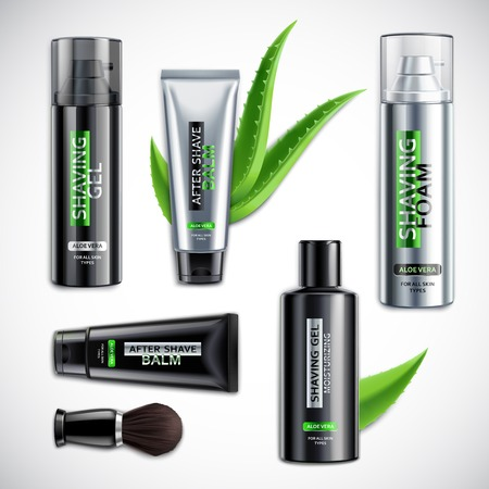 Set of realistic shaving cosmetics with brush including products with aloe vera isolated 3d vector illustration