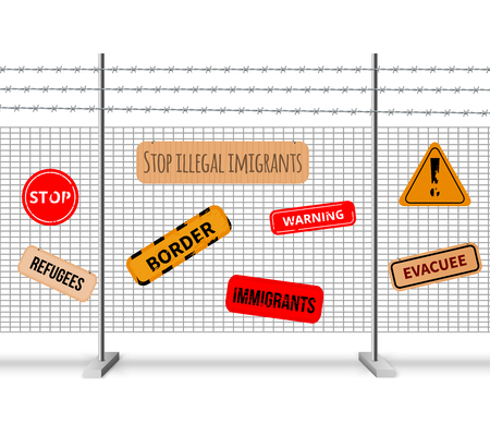 Immigrants fencing barrier realistic composition and signs with inscriptions stop warning evacuee border refugees vector illustration