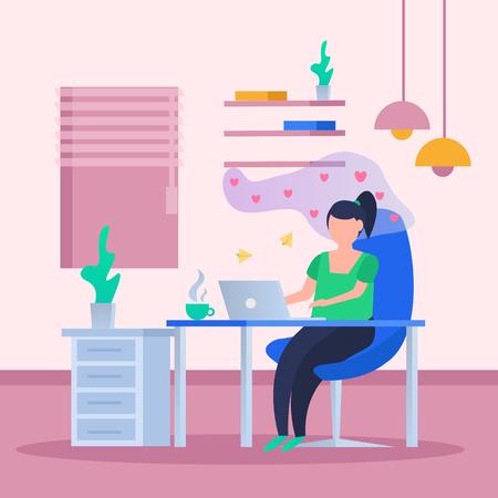 Cartel de fondo ortogonal de citas en línea de amor virtual con una chica detrás de una computadora portátil rodeada de símbolos de corazón ilustración vectorial