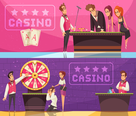 Casino banners collection with gambling game images emotional human characters of stickman banker and flat logotypes vector illustration