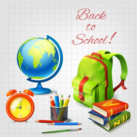 Back to school realistic design concept with alarm clock school bag globe stack of textbooks on squared paper background vector illustration