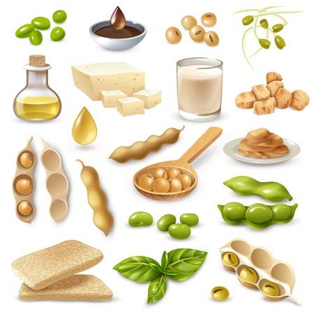 Ensemble de produits alimentaires à base de soja avec des haricots mûrs et des feuilles vertes sur fond blanc isolé illustration vectorielle