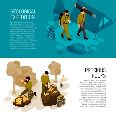 Geologist 2 isometric horizontal background banners with expedition fieldwork gear and rocks minerals testing kit vector illustration