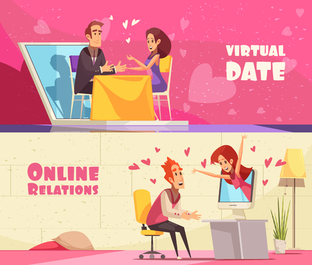 Set of two flat virtual and real love horizontal banners with text and doodle human characters vector illustration