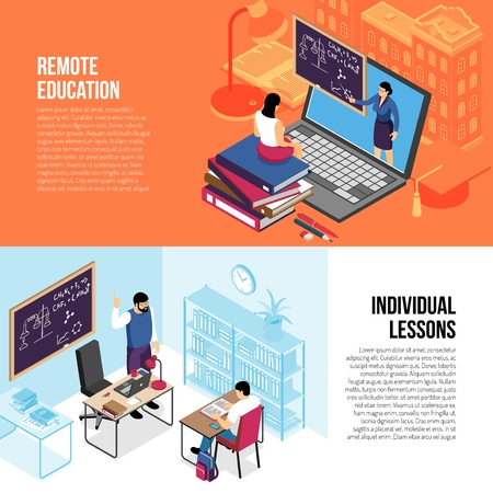 Education 2 horizontal isometric banners with individual private lessons and online college university courses isolated vector illustration Illustration