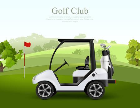 Coche de golf vacío con bolsa de palos en la ilustración de vector realista de campo verde