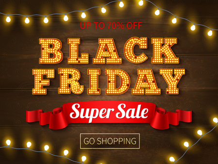 Realistic background with black friday super sale advertsiment bright text and string of lights vector illustration