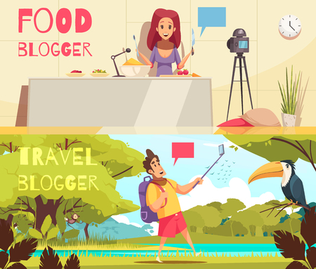 Set of two horizontal banners with blogging images editable text and cartoon style flat human characters vector illustration