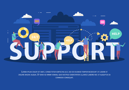 Client support service flat composition with assistants speech bubbles and typographic lettering on blue background vector illustration