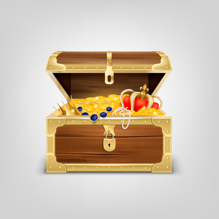 Old wooden chest with treasures realistic composition with image of treasure coffer filled with golden items vector illustration