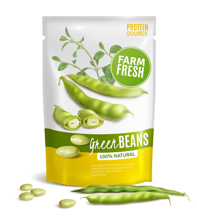 Preserved natural green beans plastic package valuable protein source healthy food close up realistic image vector illustration