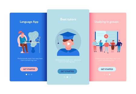 Online education language courses apps group training personal tutors offers ads flat smartphones screens set vector illustration