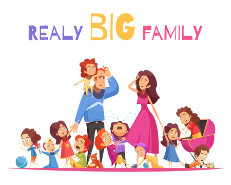 Realy big family vector illustration with happy and crying nimble kids and sad parents cartoon characters