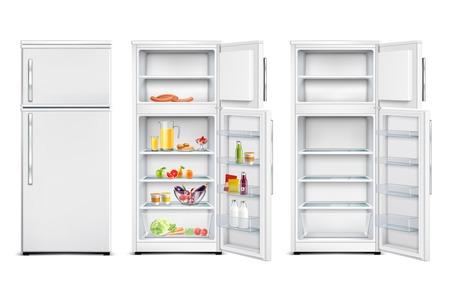 Kühlschrank Kühlschrank realistischer Satz isolierter Aufbewahrungseinheiten mit Produkten offener und geschlossener Tür