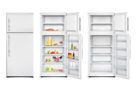 Refrigerator fridge realistic set of isolated storage units with products open and closed door Foto de archivo - 110165147