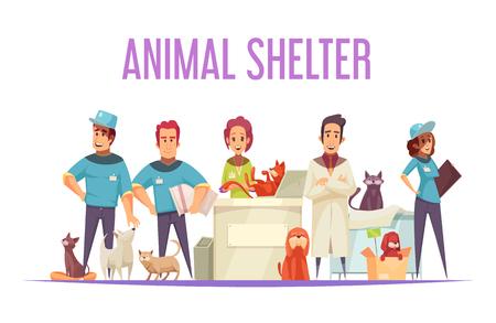 Concepto de diseño de refugio de animales con voluntarios, veterinarios, mascotas domésticas y sin hogar, ilustración vectorial plana Ilustración de vector