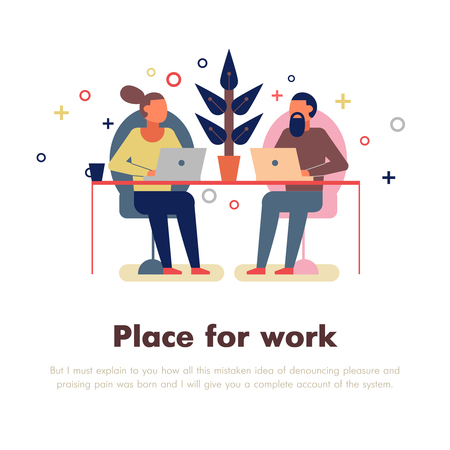 Coworking people with place for work and laptop symbols flat vector Illustration Stock Illustratie