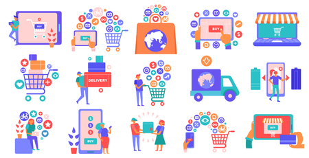 Online shopping e-commerce flat icons set with smartphone tablet laptop basket credit card payment vector illustration