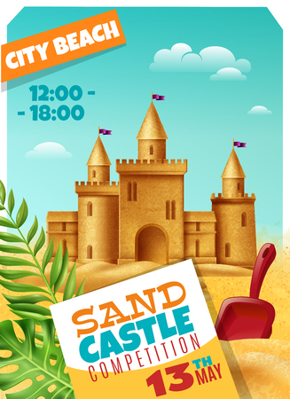 Sandy castle competition poster with date and time event advertising realistic vector illustration