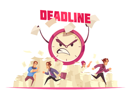 Deadline vector illustration with flying paper sheets people running to office and angry cartoon face of alarm clock