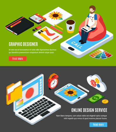 Graphic design service and tools for designers horizontal banners set 3d isometric isolated vector illustration