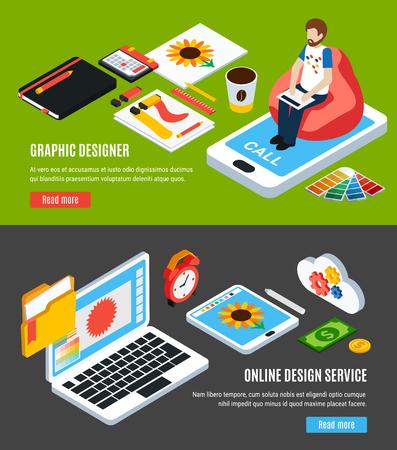 Usługi projektowania graficznego i narzędzia dla projektantów poziome banery zestaw 3d izometryczne izolowane ilustracji wektorowych
